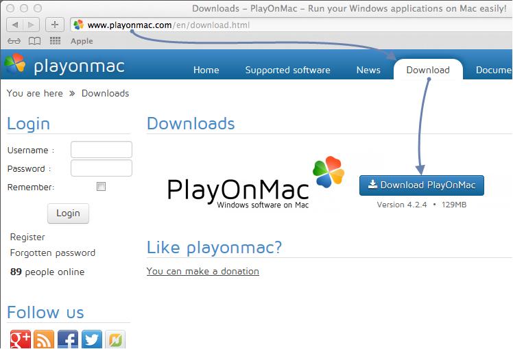 Downloading PlayOnMac